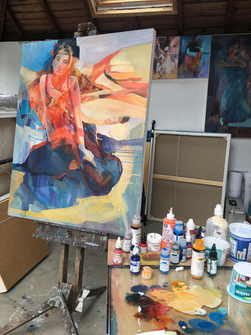 studio easel with painting heatwave