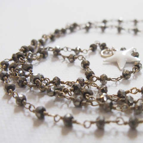 Milky Star Necklace in Pyrite