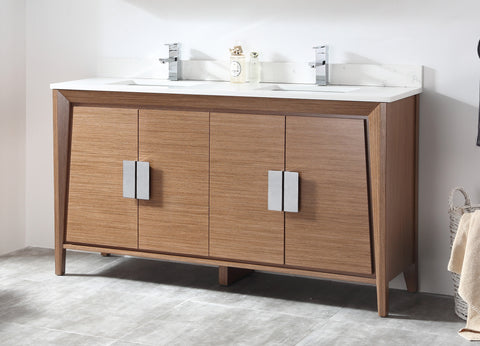 "60"" Larvotto Light Wheat Contemporary Double Sink Bathroom Vanity CL-22WV60-QT"