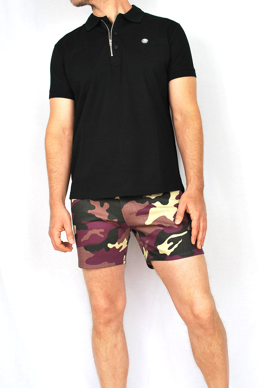 "5-Pocket Stretch Twill Short Shorts - 5"" Inseam (Purple Camo)"