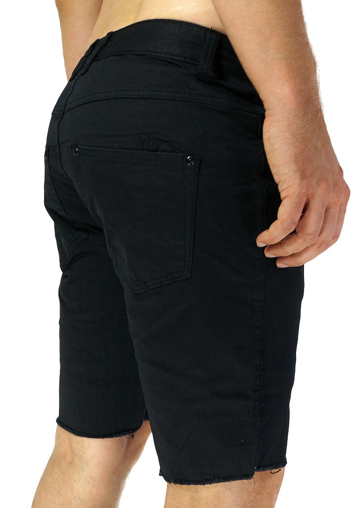 Slim Leg Cut-Off Short (Black)