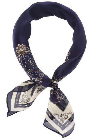 VINTAGE PRINT NECKERCHIEF/SCARF- NAVY/OFF WHITE