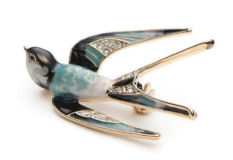 Wuli&Baby Classic Alloy Enamel Swallow Brooch Pins Metal Scarf Pins Christmas Gift Banquet Weddings Accessories