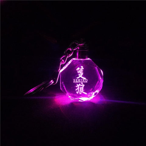 Sekiro Crystal Key Chain Laser Engraved Colorful LED Light Key Ring Glass Keychain Decoration Accessories Pendant Gift
