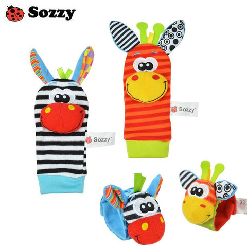 Wholesale 40pcs/lot baby rattle toys Sozzy Garden Bug Wrist Rattle and Foot Socks 4 style (2 pcs waist+2 pcs socks) (10 set)