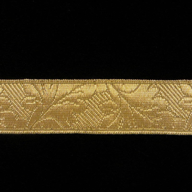 "850.2 Oak Leaf metallic galloon antique gold 1"" (24mm) - Palladia Passementerie"