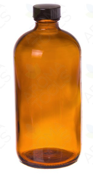 16oz Amber Glass Bottle with Black Cap