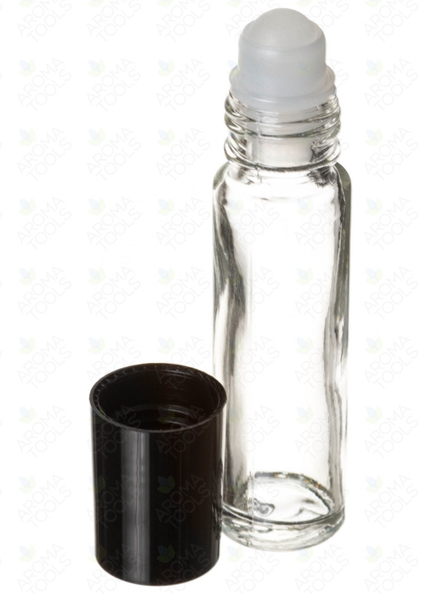1/3 oz. Clear Glass Roll-On Vials with Black Caps ( Pack of 6 )
