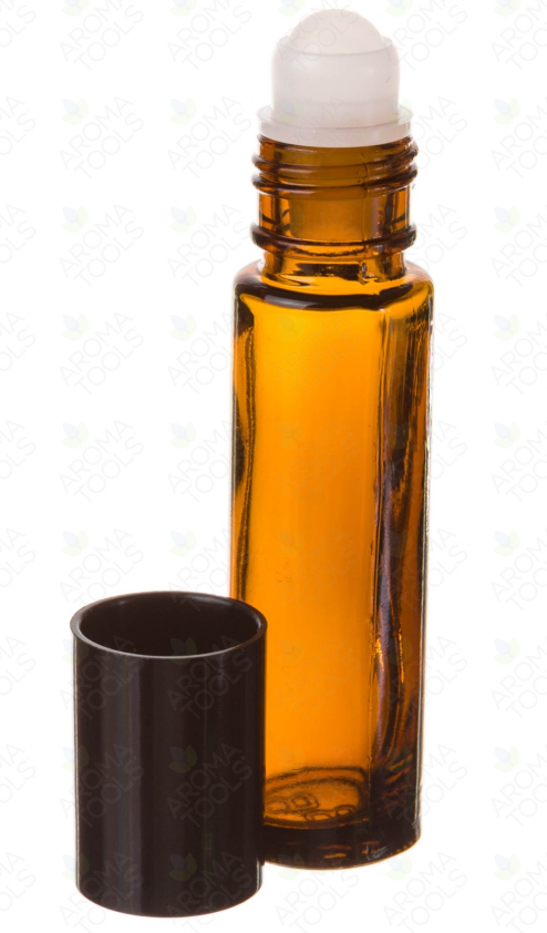 1/3 oz. Amber Glass Roll-On Vials with Black Caps ( Pack of 6 )