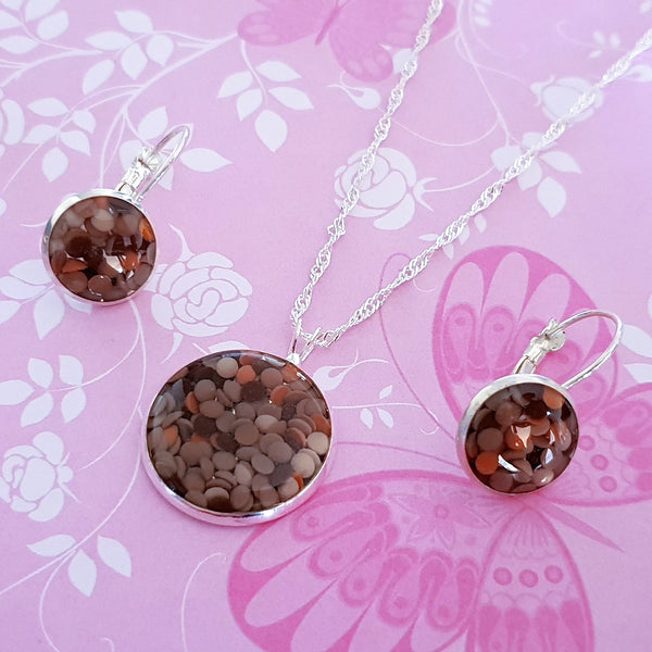 Handmade Resin Pendant and Earring Set - Brown