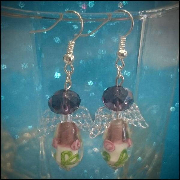 Handmade Earrings - Deep Purple Angels with Flowers