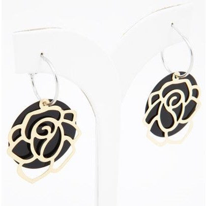 Gold Rose on Hoop Earrings