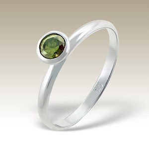 Green Single Crystal Sterling Silver Stacking Ring - Find Something Special