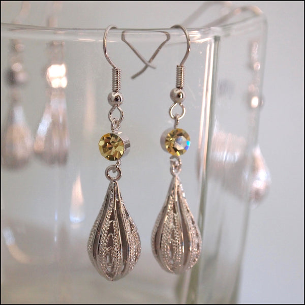 Crystal Rain Drop Earrings - Yellow