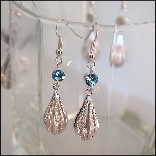 Crystal Rain Drop Earrings - Blue