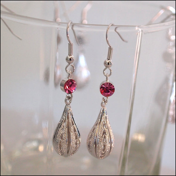 Crystal Rain Drop Earrings - Pink