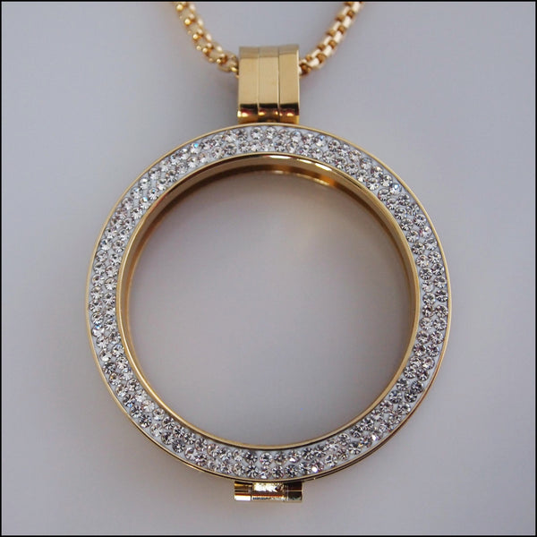 Double Crystal Coin Holder Pendant - Gold