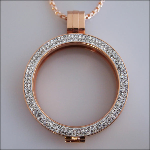 Double Crystal Coin Holder Pendant - Rose Gold