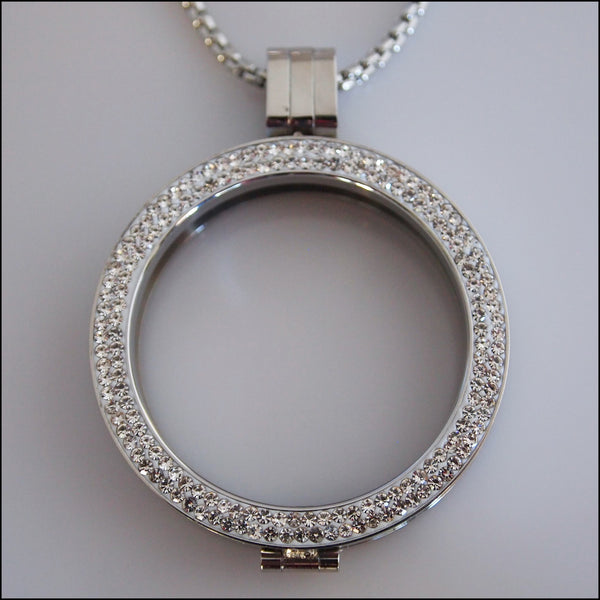 Double Crystal Coin Holder Pendant - Silver