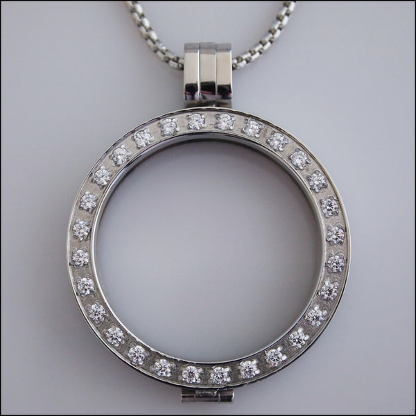 Crystal Coin Holder Pendant - Silver