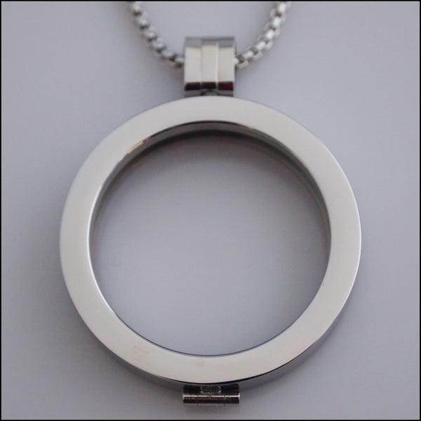 Simple Coin Holder Pendant - Silver