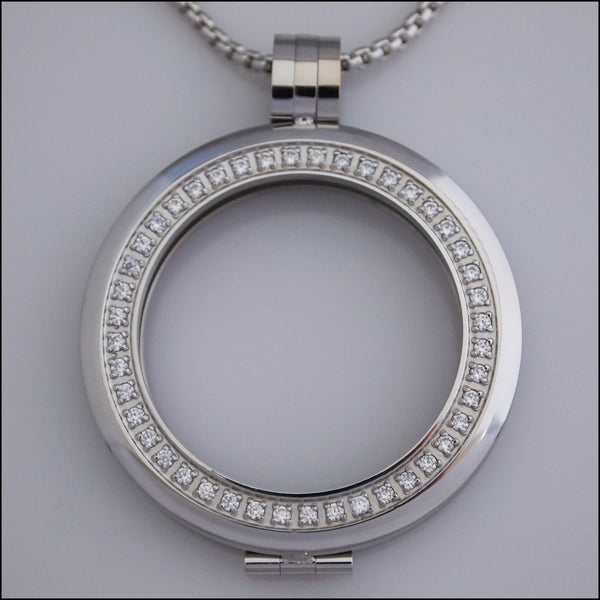 Smooth Surround Crystal Coin Holder Pendant - Silver