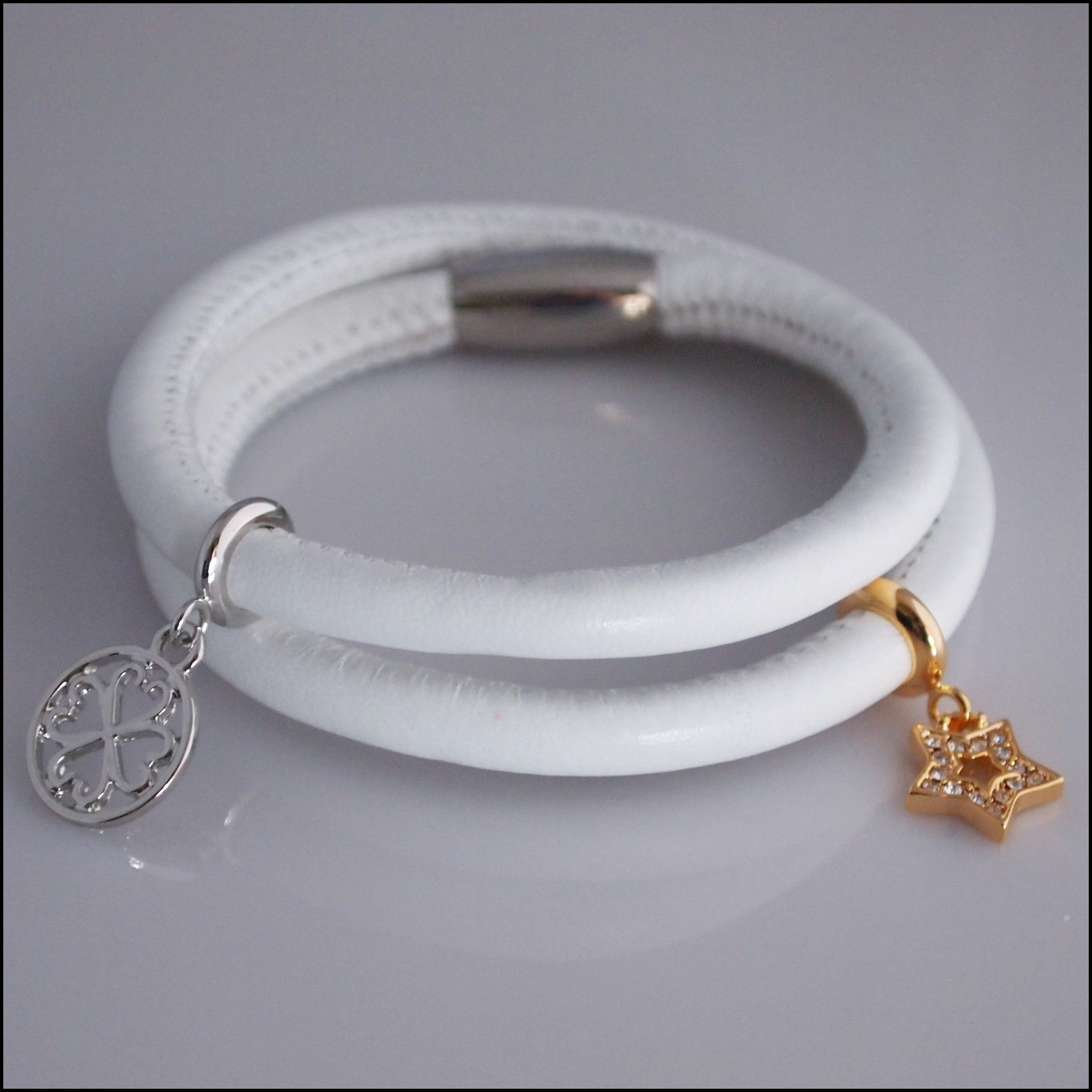 Double Leather Charm Bracelet - White - Find Something Special - 1