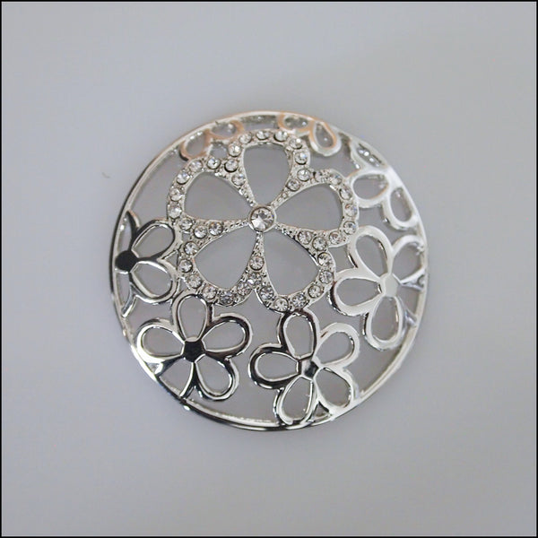 Coin for Coin Pendant - Crystal Flower Dome Silver