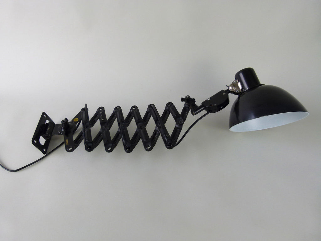 Vintage industrial scissor arm wall mounted lamp - eyespy