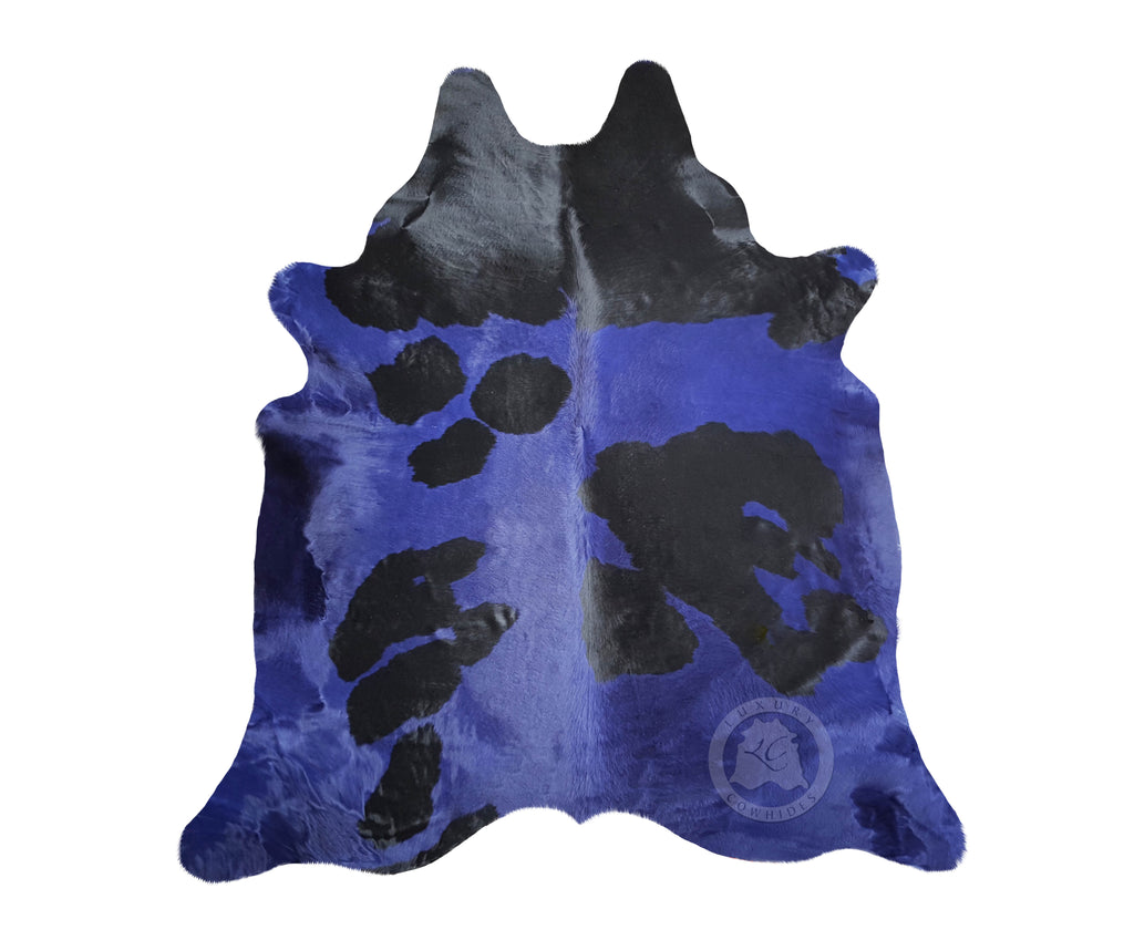 Blue and Black Cowhide Rug