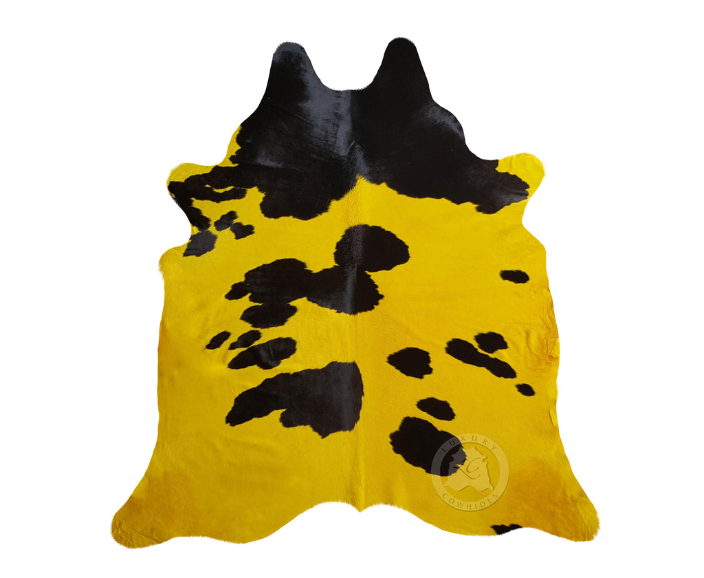 Yellow and Black Cowhide Rug