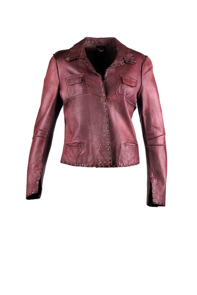 Shirt jacket with rivet detailing and studded outline design