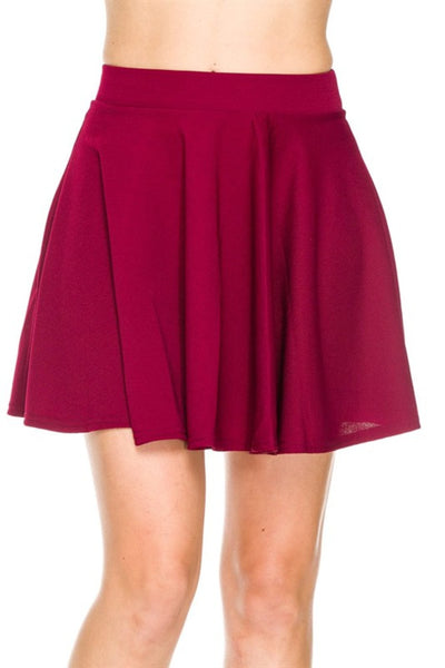 Solid Flared A-Line Skater Skirt - BodiLove | 30% Off First Order - 1