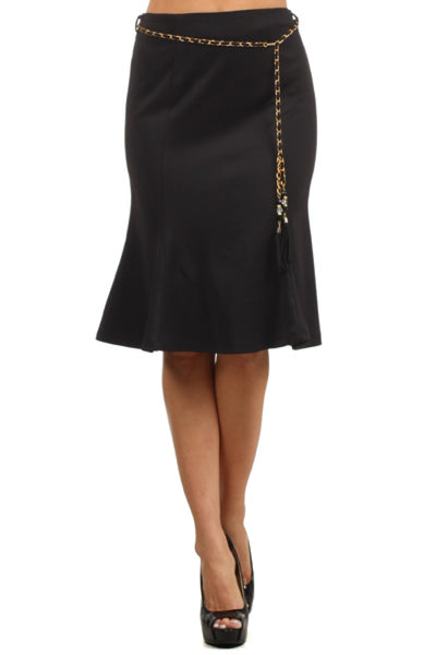 High Waisted Flared A-Line Knee Length Skirt - BodiLove | 30% Off First Order  - 1