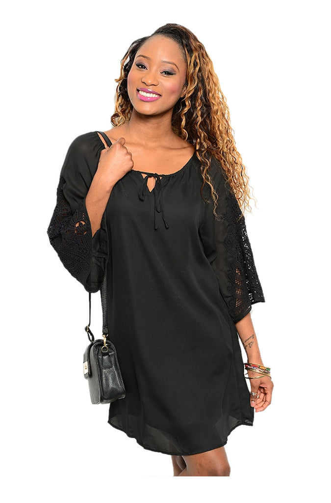 3/4 Sleeve Chiffon Blouse Dress | 30% Off First Order | Black