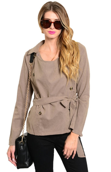 Double Breasted Jacket W/ Chiffon Back Panel - BodiLove | 30% Off First Order  - 1