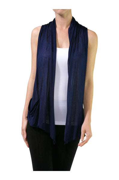 Sleeveless Open Front Cardigan Vest W/ Pockets - BodiLove | 30% Off First Order  - 1