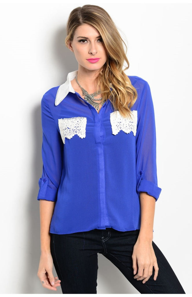 3/4 Sleeve Blouse W/ Crochet Lace Pockets - BodiLove | 30% Off First Order  - 1