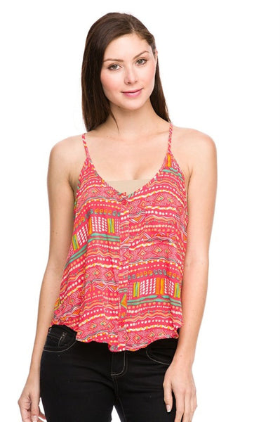 Tribal Print Button Down Tank | 30% Off First Order | Coral