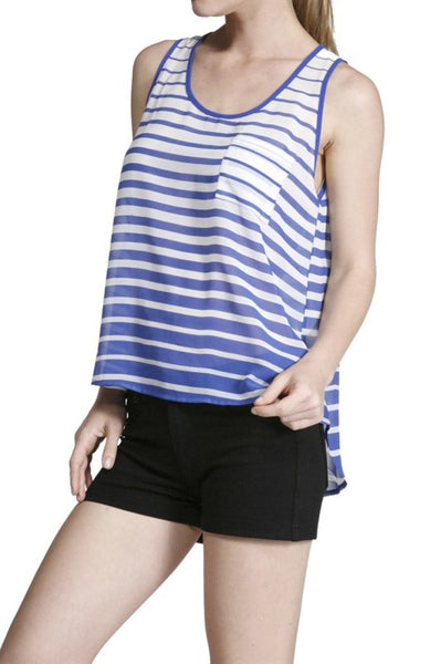 Sleeveless Striped Hi-Low Tank - BodiLove | 30% Off First Order  - 1