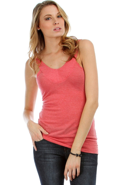 Coral Rayon Slight V-Neck Spaghetti Strap Tank Top | 30% Off First Order | Coral