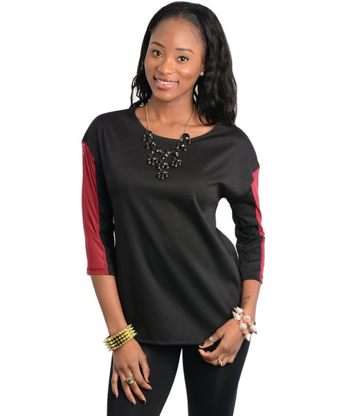 Two Tone Quarter Sleeve Top - BodiLove | 30% Off First Order  - 1
