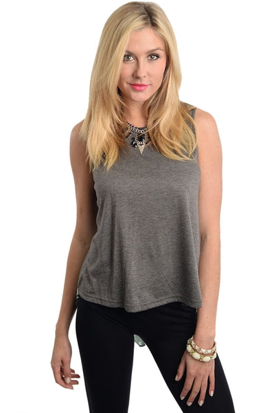Hi-Low Tank Top with Back Accordian Pleats - BodiLove | 30% Off First Order  - 1