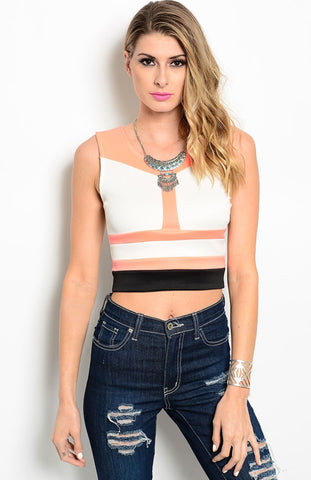 Sleeveless Colorblocked Crop Top