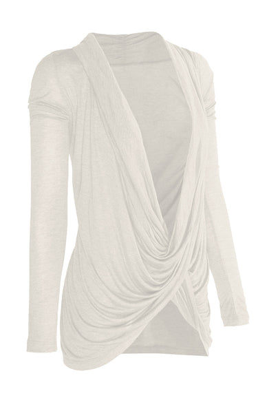 Long Sleeve Criss Cross Drape Front Top - BodiLove | 30% Off First Order - 1