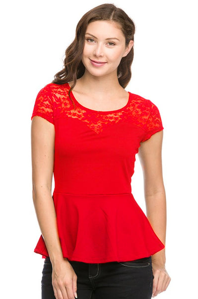 Peplum Top with Lace Yoke | 30% Off First Order | Red