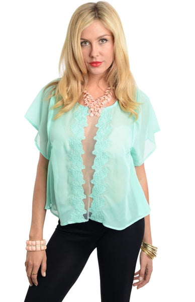 Chic Short Sleeve Top with Lace Vertical Cutout - BodiLove | 30% Off First Order  - 1
