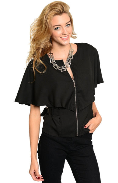 Button Tab Waist Butterfly Sleeve Zip Front Top - BodiLove | 30% Off First Order  - 1