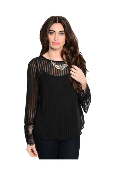 Sheer Chiffon Long Sleeve Blouse W/ Lace Trim - BodiLove | 30% Off First Order  - 1