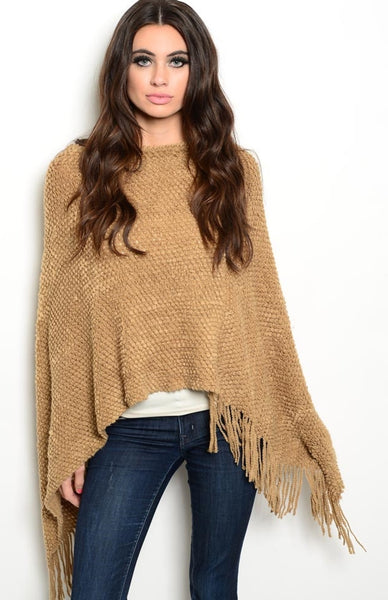 Decorative-Knit Poncho | 30% Off First Order | Tan2